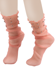 Lurex Fil Mesh Socks avec perles - Orange Rose