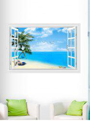 3D Window Design Beach Palm Wall Sticker - BLUE