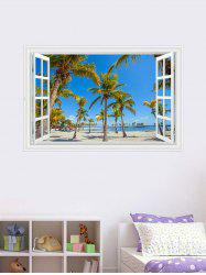 Palm Seascape 3D Fake Window Wall Sticker - BLUE