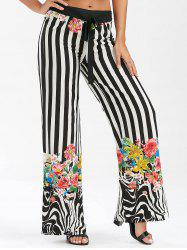 Striped Floral Lace Up Wide Leg Pants - COLORMIX