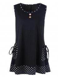 Sleeveless Plus Size Polka Dot Pockets T-Shirt