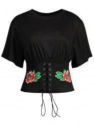 Floral Embroidered Lace Up Tee