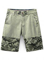 Camouflage Pattern Zip Fly Shorts