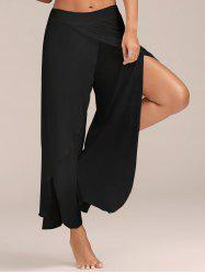 Flowy Layered High Waisted Slit Palazzo Pants - BLACK