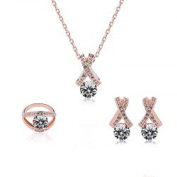 Rhinestone Crisscross Plated Jewelry Set