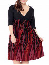 Plus Size Fire Print Empire Waist Surplice Dress
