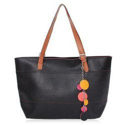 Pendant Pebble Faux Leather Shopper Bag - BLACK