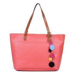 Pendant Pebble Faux Leather Shopper Bag - WATERMELON RED