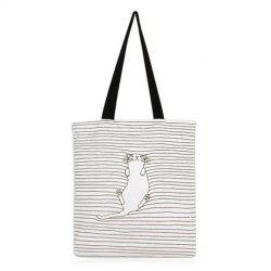 Canvas Cat Striped Shopper Bag