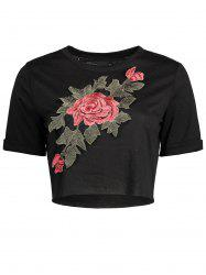 Distressed Floral Embroidered Cropped Tee