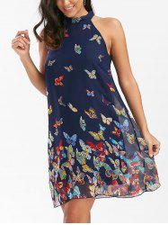 Butterfly Print Sleeveless Chiffon Dress - PURPLISH BLUE