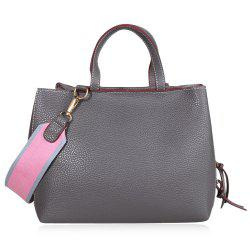 PU Leather Tote Bag with Contrast Strap