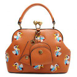 Kisslock Cartoon Embroidered Handbag