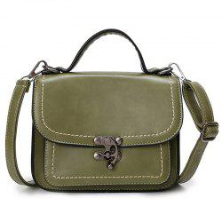 Stitching Cross Body Handbag - OLIVE GREEN