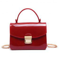 Chain and Metal Detail Jelly Handbag -