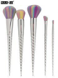 MAANGE 5Pcs Unicorn Horn Design Makeup Brush Set - SILVER
