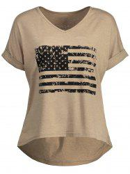 High Low Patriotic Distressed American Flag T-shirt