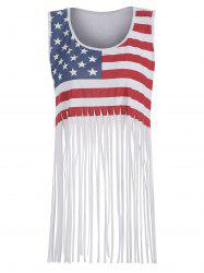Fringed American Flag Print Tank Top -
