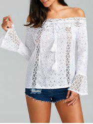 Lace Trim Long Sleeve Off The Shoulder Top