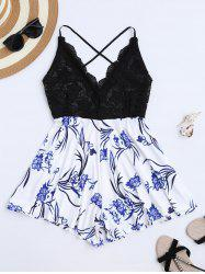 Backless Lace Insert Floral Romper - BLACK