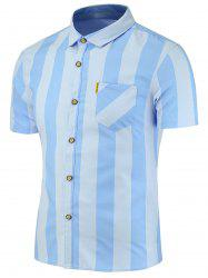 Stripes Pattern Short Sleeves Shirt