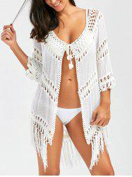 Crochet Panel Wrap Cover Up with Tassel