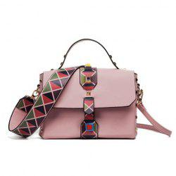 Studded Handbag with Geometric Print Strap - PINK