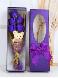 5 Pcs Handmade Rose Soap Artificial Flower and Bear