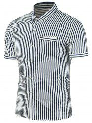 Short Sleeves Striped Fake Pocket Design Shirt