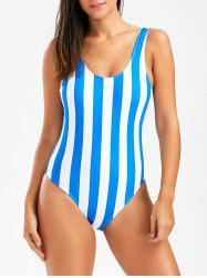 Stripe Open Back One Piece Swimsuit