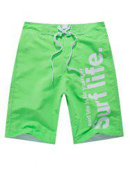 Graphic Printed Velcro Boardshorts - GREEN