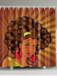 Afro Girl Unique Fabric Shower Curtain