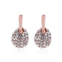 Rhinestoned Oval Earrings - ROSE GOLD