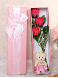3 Pcs Handmade Soap Rose Artificial Flower and Bear -