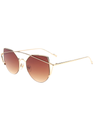 Cat Eye Long Metal Cambered Crossbar Sunglasses