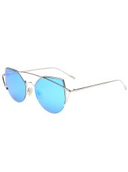 Cat Eye Design Metal Crossbar Mirrored Sunglasses - SILVER FRAME + BLUE LENS