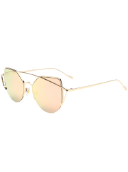 Cat Eye Design Metal Crossbar Mirrored Sunglasses - ROSE GOLD
