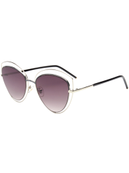 Wide Cat Eye Hollow Out Frame Sunglasses