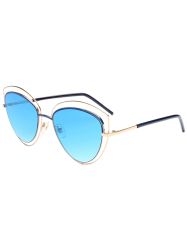 Reflective Wide Cat Eye Shape Mirror Sunglasses