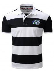 Broad Stripe Badge Embroidered Polo T-Shirt