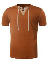 Suede Panel V Neck Lace Up T-Shirt