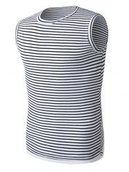 Side Slit Crew Neck Stripe Tank Top
