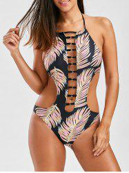 Graphic High Neck Strappy One Piece Swimsuit