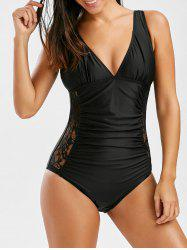 Ruched Lace Panel  High Cut Plunge Swimsuit