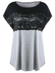 Long Plus Size Lace Insert T-Shirt