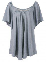 Plus Size Lace Insert Long Flowy T-Shirt