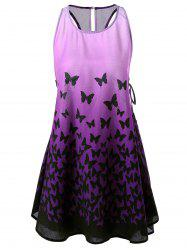 Ombre Lace Up Racerback Butterfly Tank Dress - PURPLE M