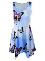 Ombre Print Mini Handkerchief Dress - LIGHT BLUE L