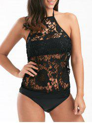 See-Through Lace Panel Tankini Swimsuit - BLACK