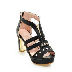 Studded Elastic Zipper Sandals